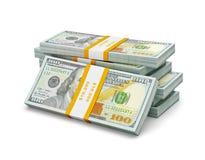 Pile de nouveaux 100 billets de banque 2013 d'édition de dollars US (factures) s Image libre de droits