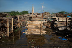 Pile de panneaux en bois de teck dans la cour de bois de charpente pile en bois Photos stock