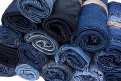Pile de petit pain de jeans Photographie stock