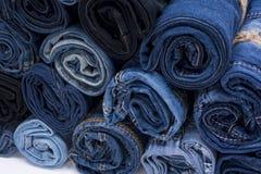 Pile de petit pain de jeans Image libre de droits