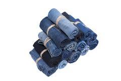 Pile de petit pain de jeans Photographie stock libre de droits