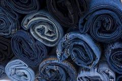 Pile de petit pain de jeans Image stock