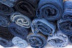 Pile de petit pain de jeans Images libres de droits