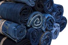 Pile de petit pain de jeans Photo libre de droits