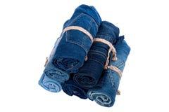 Pile de petit pain de jeans de denim Photo libre de droits