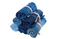 Pile de petit pain de jeans de denim Photographie stock