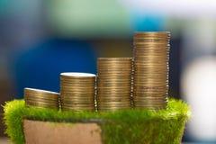 Pile de pièce d'or sur l'herbe artificielle dans le pot, sur la table en bois Photographie stock