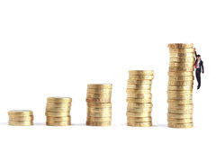 Pile de pièce de monnaie comme l'élevage de diagramme Images libres de droits