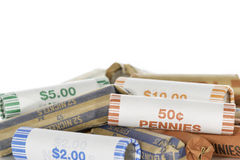 Pile de pièce de monnaie Rolls Image libre de droits
