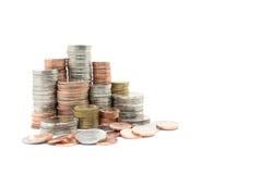 Pile de pièce de monnaie sur le fond blanc Image libre de droits