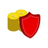 Pile de pièces d'or avec le bouclier, symbole de protection de finances Photos stock