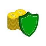 Pile de pièces d'or avec le bouclier, symbole de protection de finances plat Photo stock
