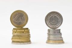 Pile de pièces de monnaie d'euro et de zloty d'argent. Comparaison de cours des devises  Photo libre de droits