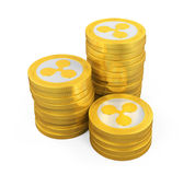 Pile de pièces de monnaie d'ondulation d'isolement illustration libre de droits