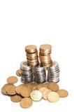 pile de pièces de monnaie du dollar sur le fond blanc Images libres de droits