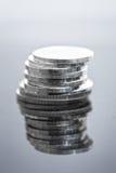 Pile de pièces en argent Photographie stock libre de droits