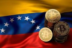 Pile de pièces de monnaie de Bitcoin sur le drapeau de Venezuelian Situation de Bitcoin et d'autres cryptocurrencies au Venezuela illustration de vecteur