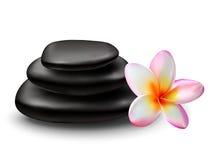 Pile de pierres noires de zen avec la fleur de plumeria Photo libre de droits