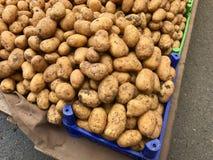 Pile de pommes de terre fraîches sur le marché organique turc de bazar photo libre de droits