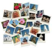 Pile de projectiles de photo avec des bornes limites du Népal Photographie stock