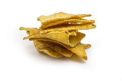 Pile de puces de tortilla sur le fond blanc Photographie stock