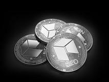 Pile de quatre NÉO- pièces de monnaie argentées s'étendant sur le fond noir illustration de vecteur
