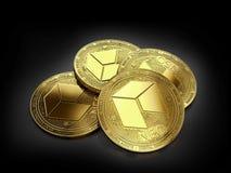 Pile de quatre NÉO- pièces de monnaie d'or s'étendant sur le fond noir Photos stock
