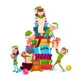 Pile de Santa Helper With Present Box de personnage de dessin animé de groupe d'Elf de Noël Images libres de droits