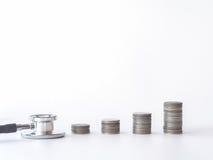 Pile de stéthoscope et de pièce de monnaie sur le fond blanc argent pour des soins de santé, aide financière, concept Photo libre de droits