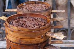Pile de tamis vides de boulette, Pékin Image libre de droits
