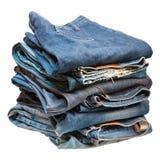 Pile de vêtements bleus de denim Photo libre de droits