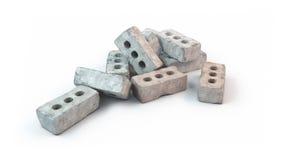 Pile de vieilles briques d'isolement sur le fond blanc images stock