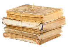 Pile de vieux livres attachés avec la corde Image libre de droits