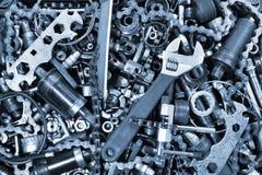 Pile de vieux pièces et outils de bicyclette Image libre de droits