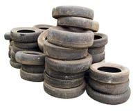 Pile de vieux pneus photo stock