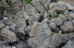 Pile of debris of a destroyed stone Royalty Free Stock Photography