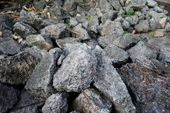 Pile of debris of a destroyed stone Stock Photos