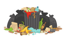 Pile of Decaying Garbage Left Lying Around. Vector Illustration Stock Images