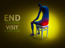 Pile decease. Man painfully sitting on a chair. 3D illustration Stock Photo