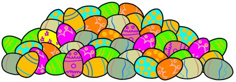 Pile of decorated Easter eggs Stock Photography