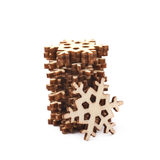 Pile of decorational wooden snowflakes Royalty Free Stock Image
