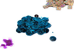 Pile of decorative craft sequins Royalty Free Stock Images