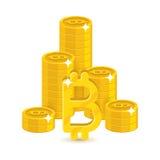 Pile dei bitcoins dell'oro della colonna Illustrazione di Stock