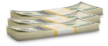 Pile del dollaro di diecimila all'orizzonte Fotografie Stock
