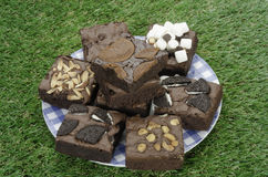 Pile of Delicious Chocolate Brownies in the box Royalty Free Stock Images