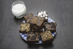 Pile of Delicious Chocolate Brownies in the box Royalty Free Stock Image