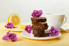 Pile of delicious chocolate cake slices with the cookies filling Royalty Free Stock Photos