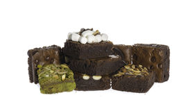 Pile of Delicious Chocolate and green tea Brownies Royalty Free Stock Images