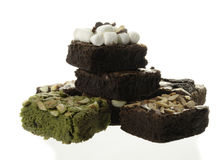 Pile of Delicious Chocolate and green tea Brownies Royalty Free Stock Photography