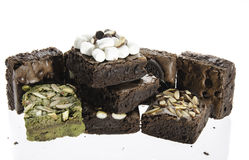 Pile of Delicious Chocolate and green tea Brownies Stock Photography